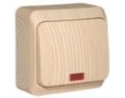 Этюд (шнайдер) Дача (светлое дерево) выключатель 1-кл с подсветкой накладной ВА10-005D