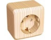 Этюд (шнайдер) Дача (светлое дерево) розетка 1-я с заземлением со шторками накладная РА16-004D