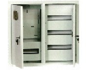 щит металлический (ящик металлический) ЩРУ 3Н -48 под 3 фазный счетчик с окном  2-х дверный  600Х500Х155